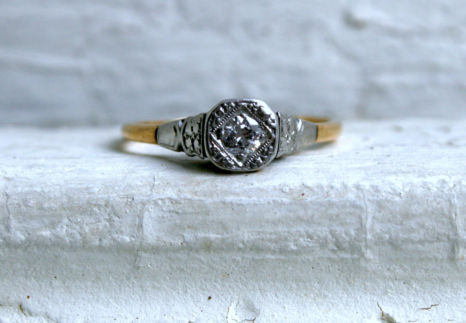 simple vintage engagement ring yellow white gold onewedcom