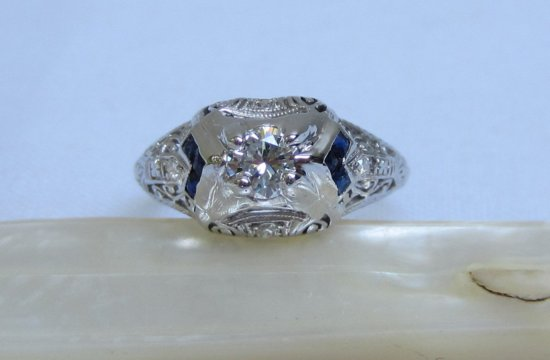Vintage Diamond Engagement Ring with Sapphire Accent Stones