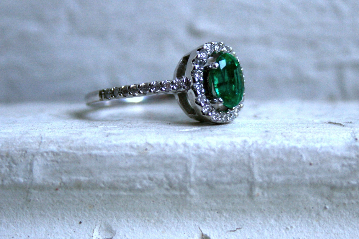 vintage engagement ring with emerald center stone onewedcom