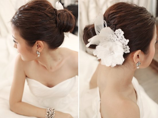 Gorgeous Bridal Updo Elegant Bun with Feather Flower