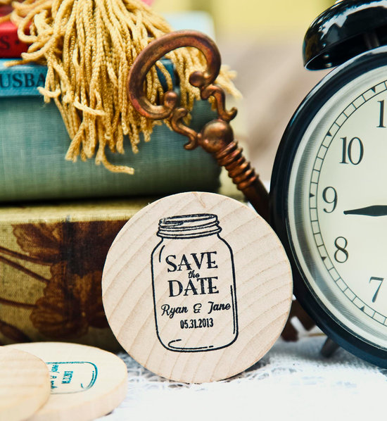 Custom Wood Wedding Save the Dates Mason Jar Design