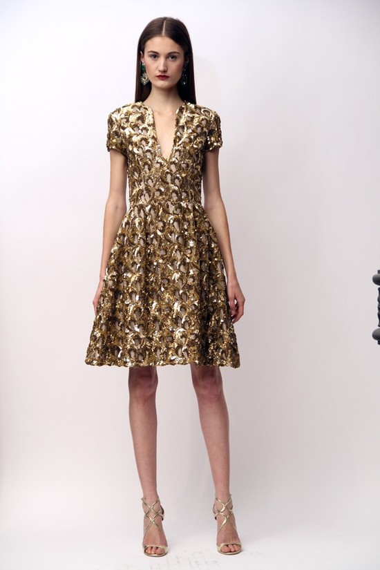 White Aisle Style Inspiration from Pre Fall 2013 Naeem Khan Gold LWD