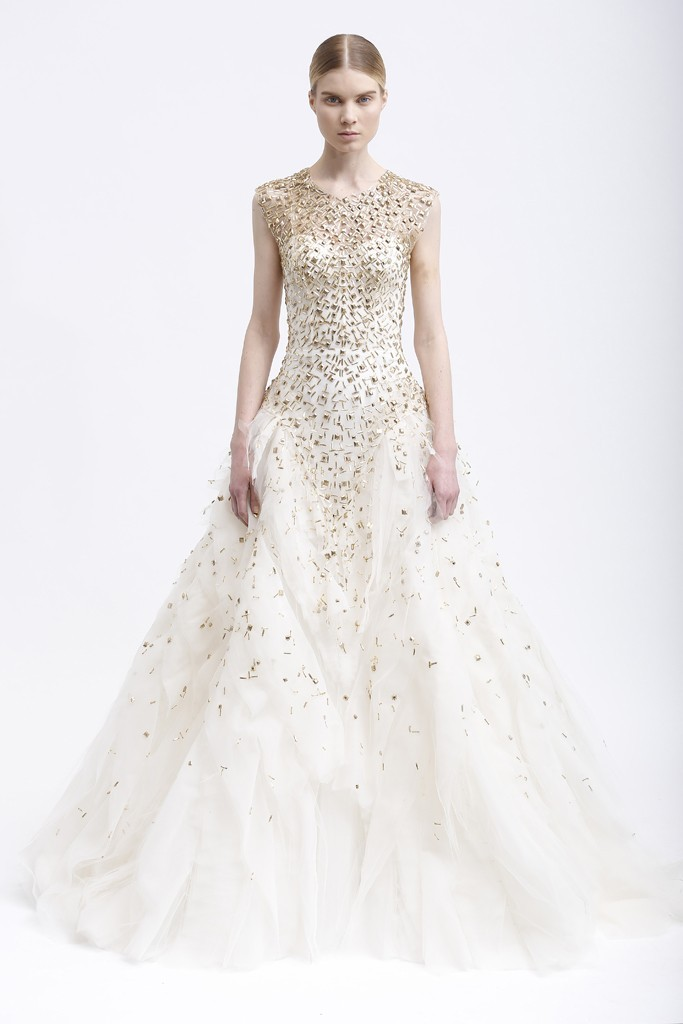 Monique Lhuillier Cream Ballgown with Gold Studding Beading