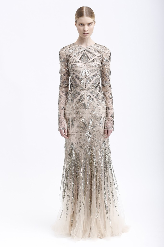 Sheer plus Metallic Monique Lhuillier Gown with Statement Sleeves
