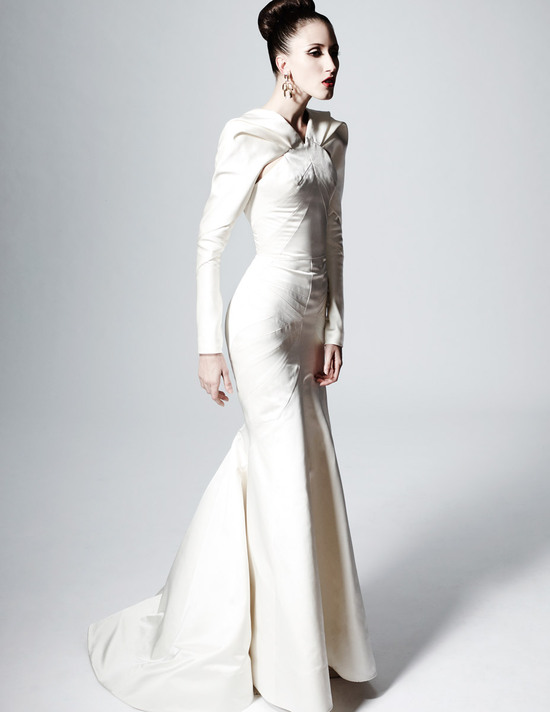 Bridal Style Inspiration Zac Posen Gown with Sleeves