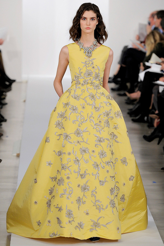 Yellow Oscar de la Renta Ballgown Floral Embroidered
