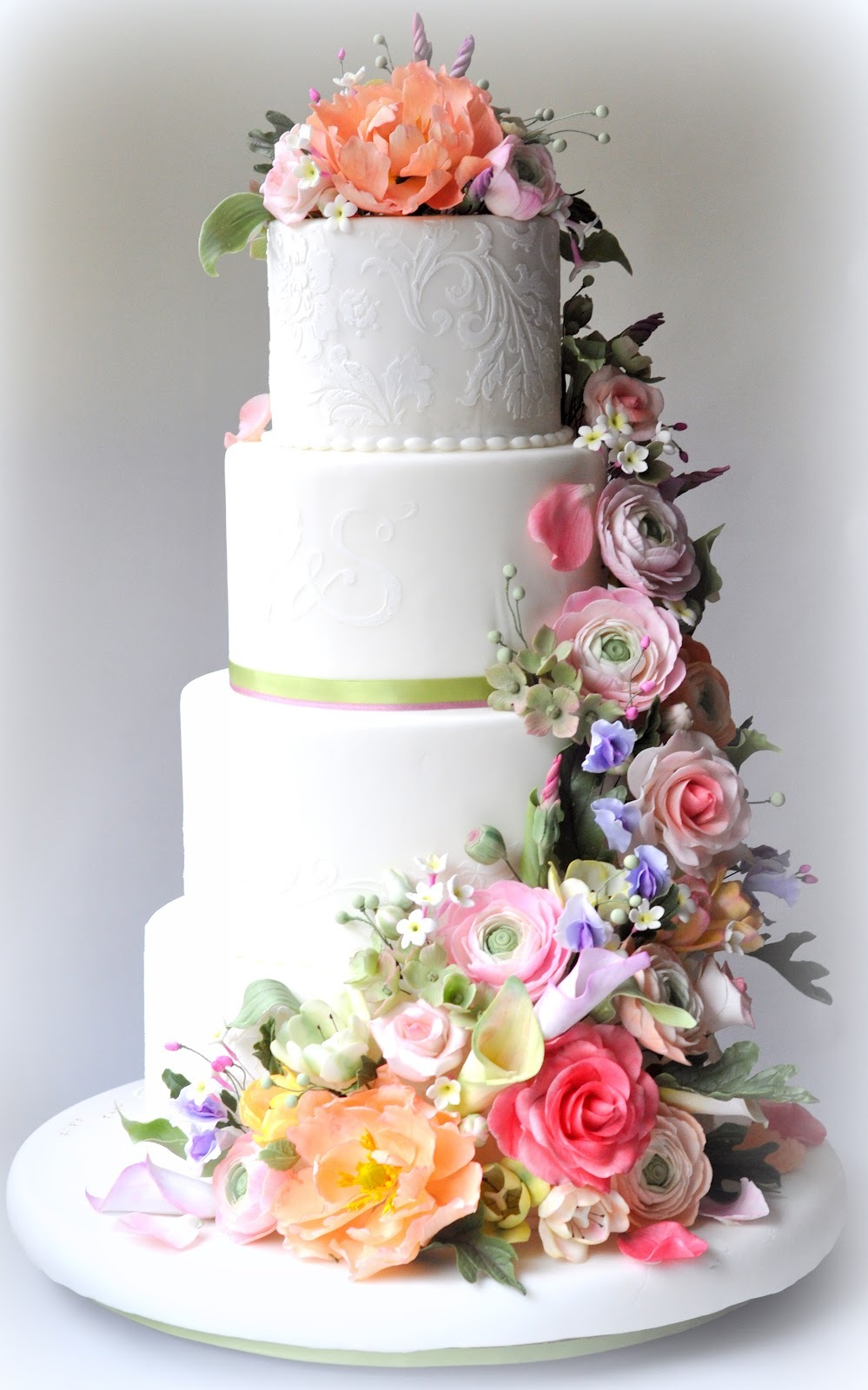Classic White Wedding Cake With Pastel Flowers