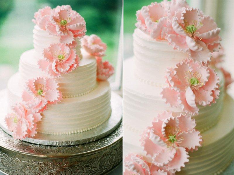 3 tier classic wedding cake with light pink sugar flowers mightylinksfo