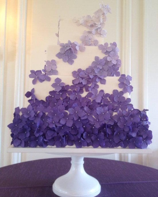 photo of White Square Wedding Cake with Purple Flowers