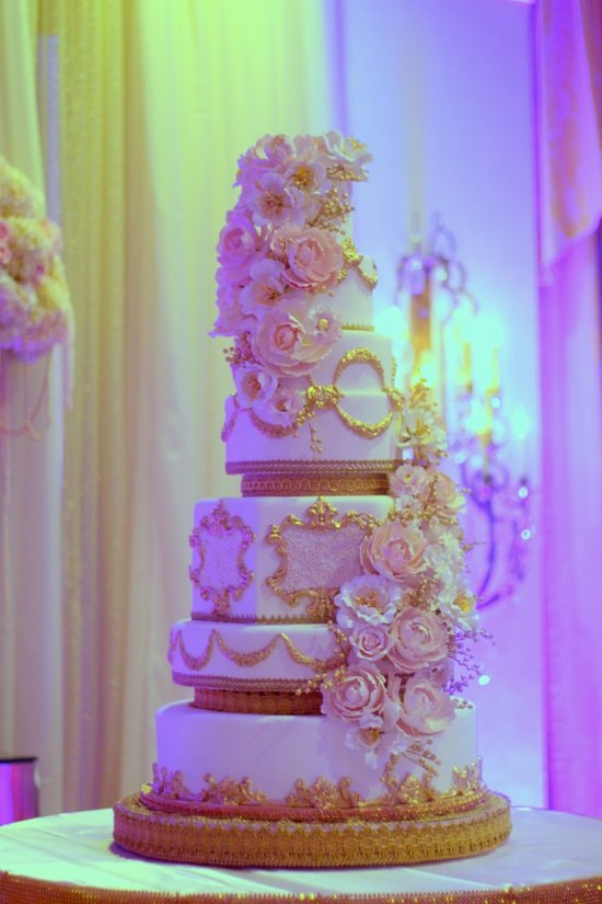 photo of White Gold Regal Wedding Cake Cascading Blooms