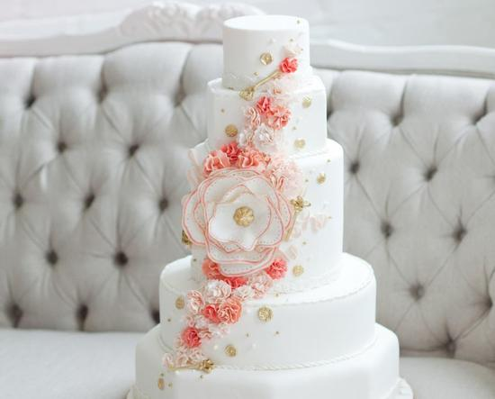 Classic White Wedding Cake Peach Gold Cascading Blooms