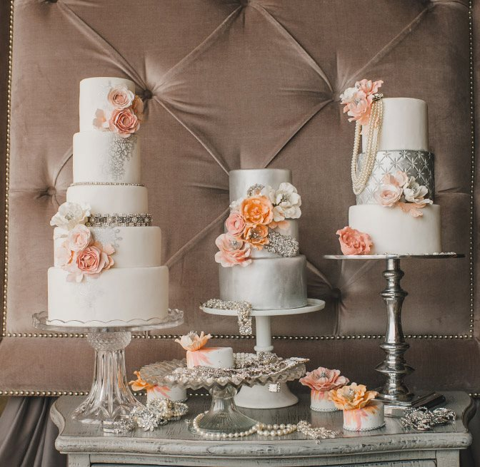 Silver-ivory-wedding-cakes-with-pastel-blooms.full
