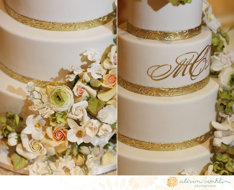 Classic Ivory Gold Monogrammed Wedding Cake With Pastel Florals