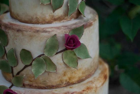 Rustic Wedding Cake with Cascading Leaves Roses