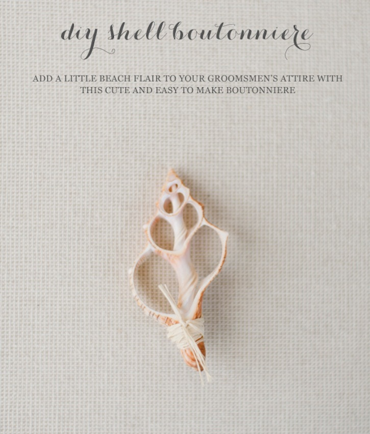 Beach Wedding DIY Shell Boutonniere for the Groom