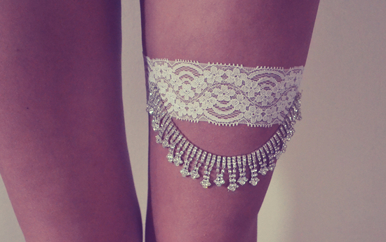 Lace Rhinestone Wedding Garter