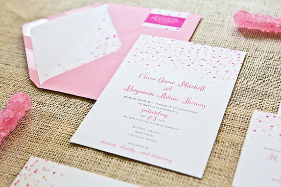 Whimsical Wedding Invitations Confetti Design