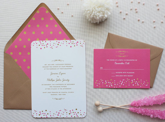 Modern Confetti Wedding Invitation Suite