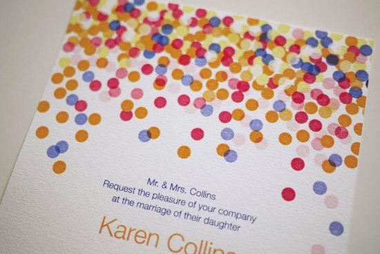 photo of Confetti inspired wedding invitation colorful