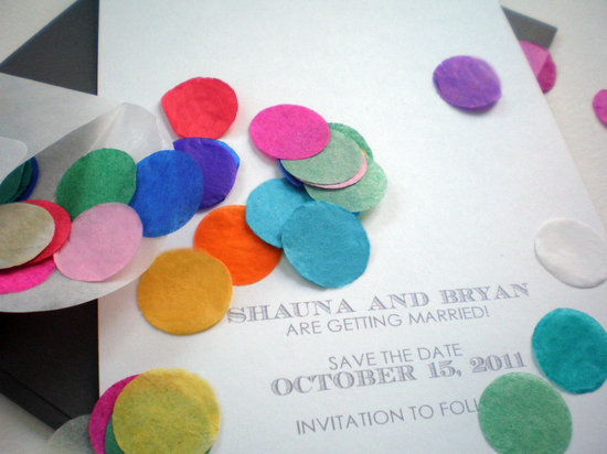Festive Confetti Wedding Invitation