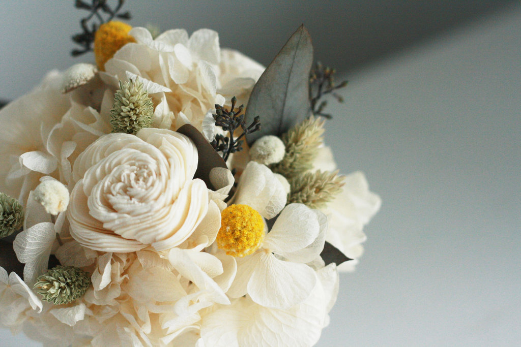 flower arrangement ivory green yellow full dried wedding flower