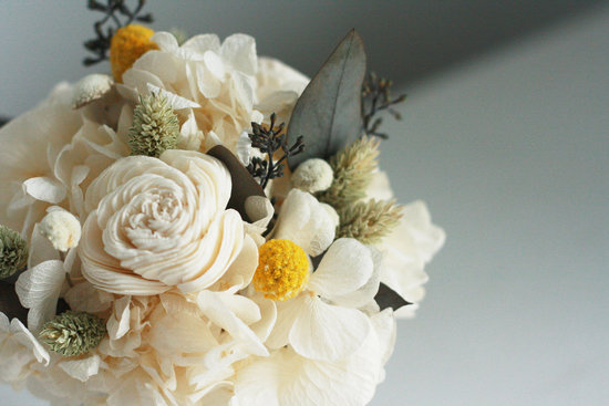 Dried Wedding Flower Arrangement Ivory Green Yellow