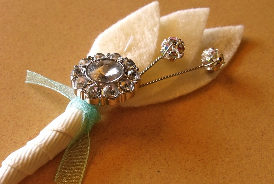 Ivory Felt and Rhinestone Grooms Boutonniere