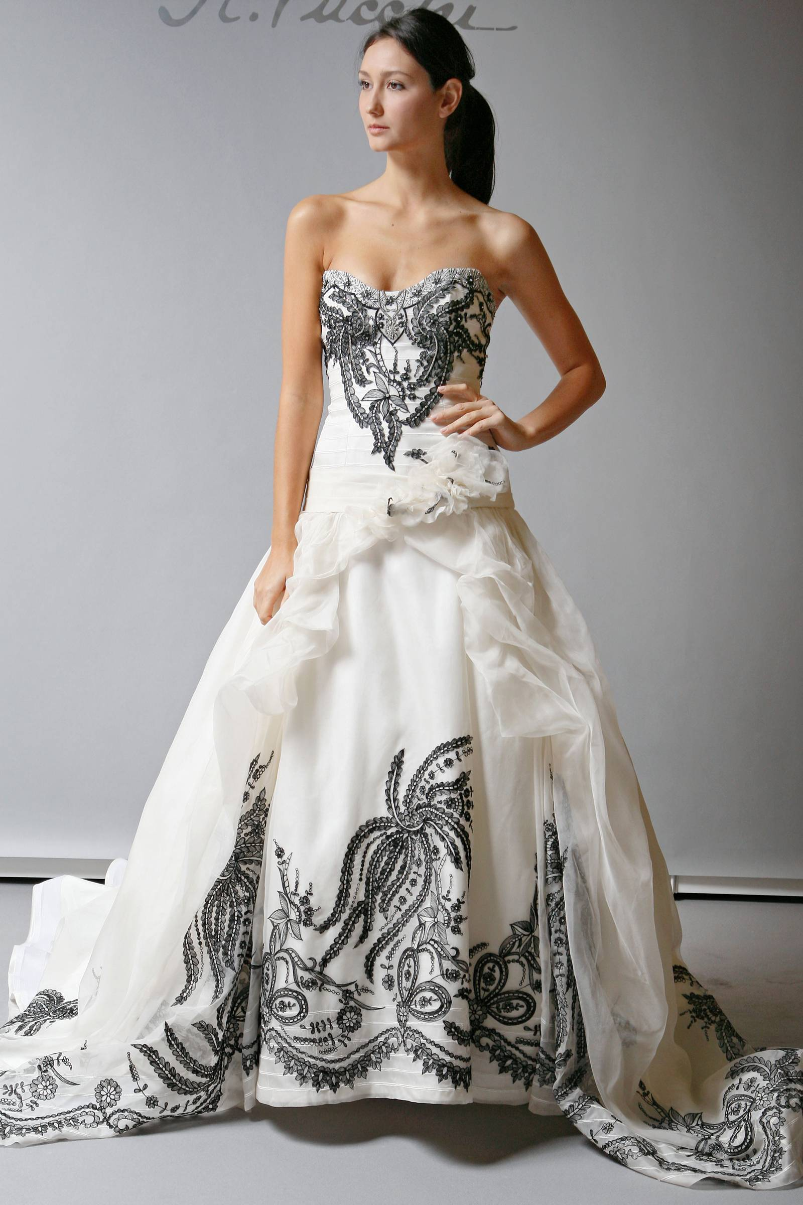 2013 wedding dress st pucchi bridal cream with black for Wedding dresses white and black