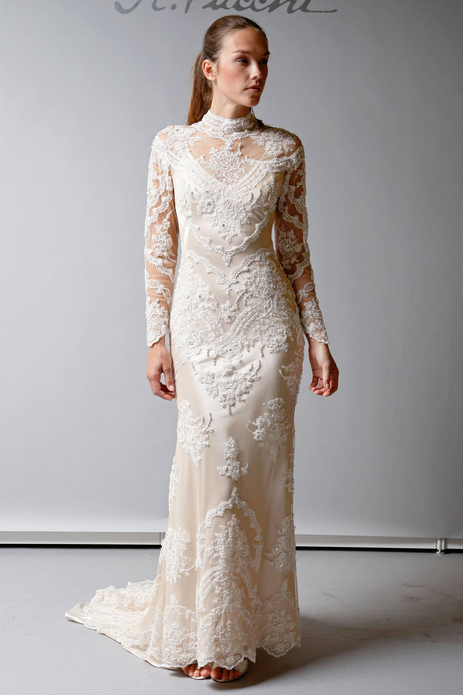 2013 wedding dress st pucchi bridal lace sheer sleeves