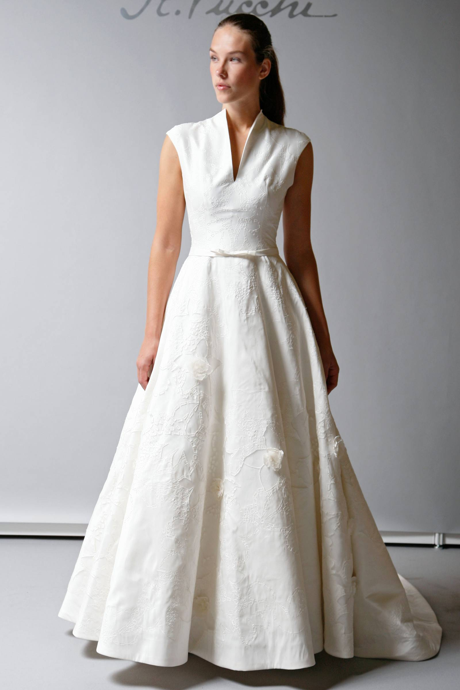 2013 Wedding Dress St Pucchi Bridal Modest Cap Sleeve A Line