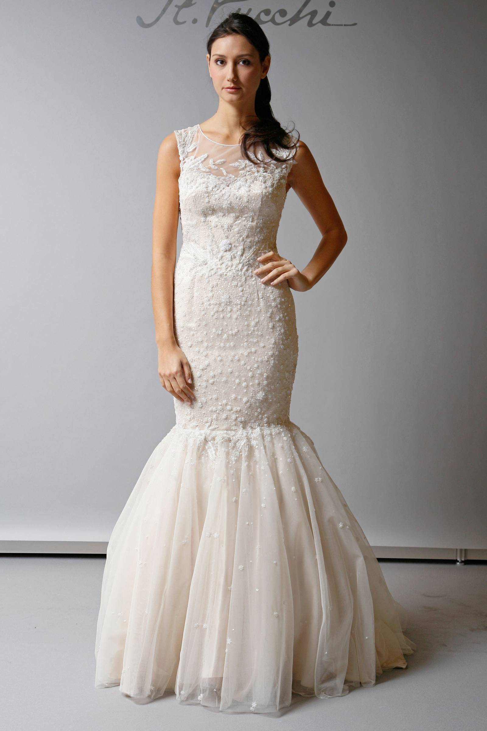 2013 wedding dress st pucchi bridal illusion neckline