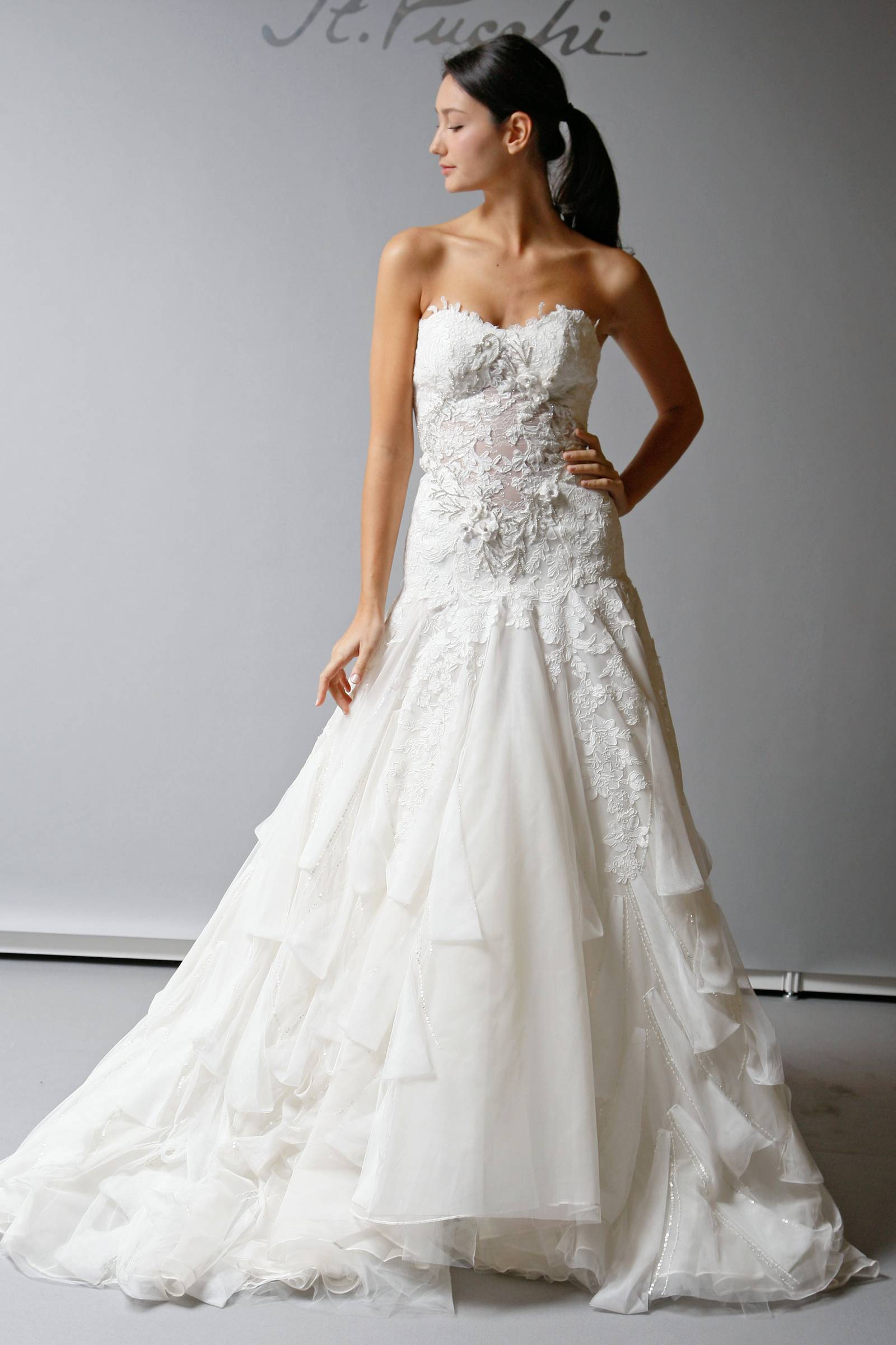 2013 wedding dress st pucchi bridal drop waist strapless for Wedding dresses with dropped waist