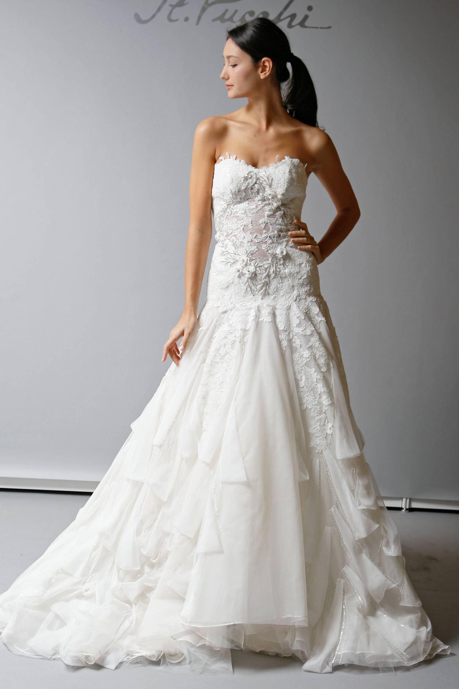 2013 wedding dress st pucchi bridal drop waist strapless for Wedding dress pictures 2013