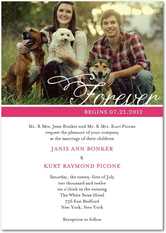 Signature white wedding invitations, Forever Flourish
