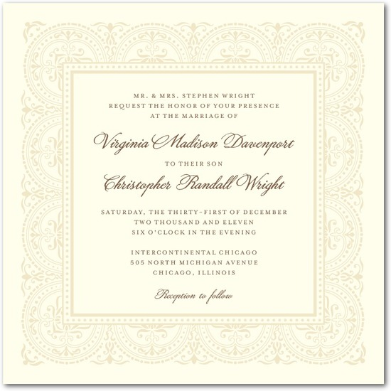 Signature ecru wedding invitations, Delicate Details