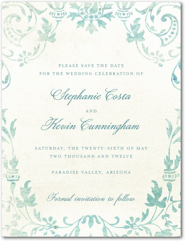 Signature white textured save the date cards, Washed Damask