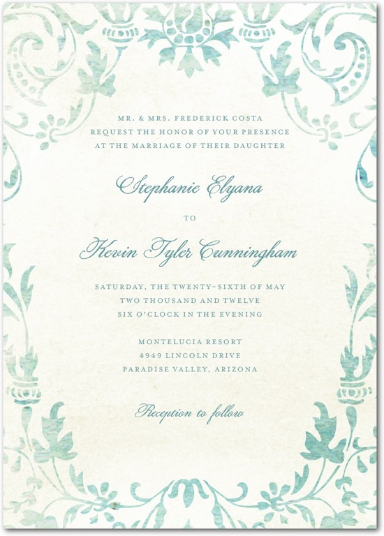 photo of Signature white textured wedding invitations, Washed Damask
