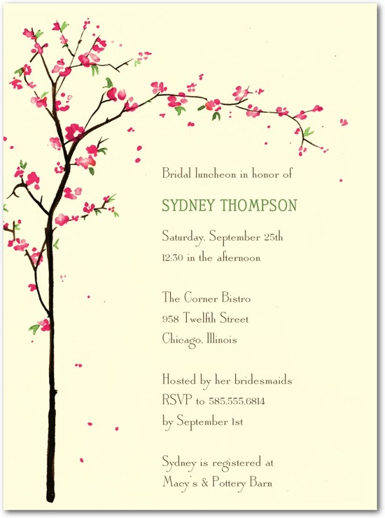 Signature ecru bridal shower invitations, Cherry Showers