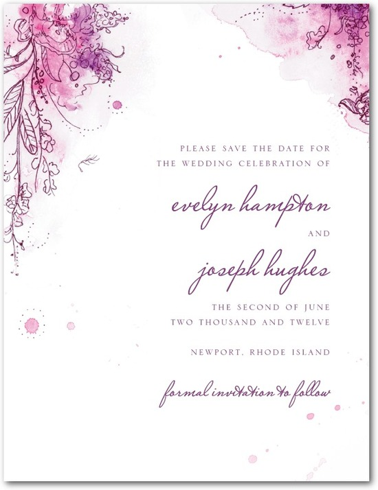 photo of Signature white textured save the date cards, Painterly Passion