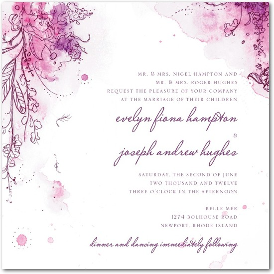 Signature white textured wedding invitations, Painterly Passion