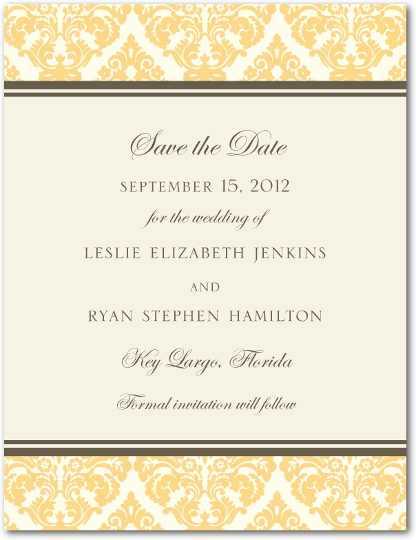 photo of Signature white save the date cards, Designer Damask