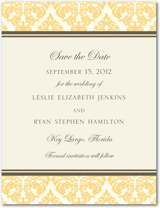 Signature white save the date cards, Designer Damask