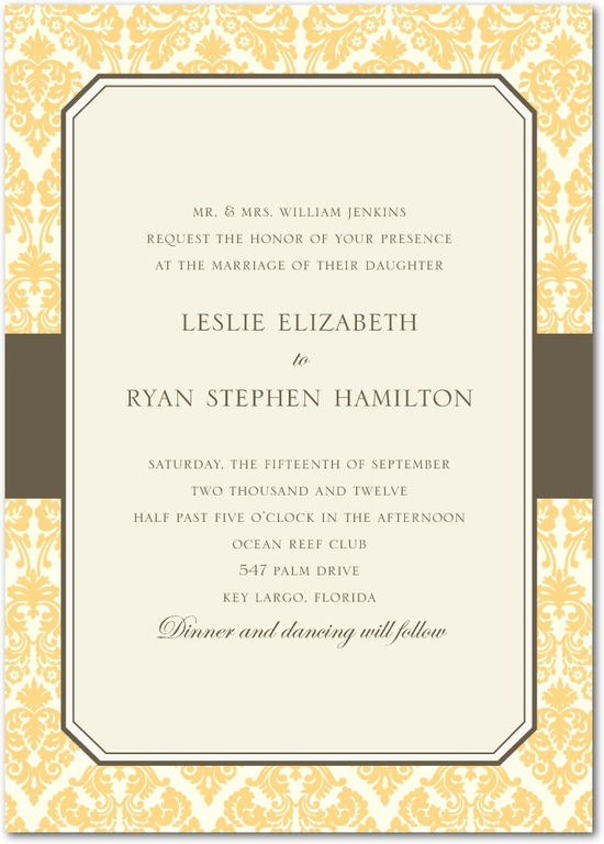 photo of Signature white wedding invitations, Designer Damask
