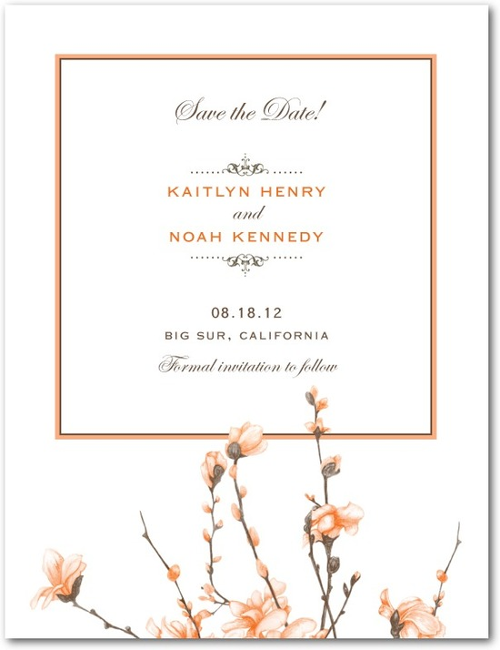 Signature white textured save the date cards, Fine Forsythia