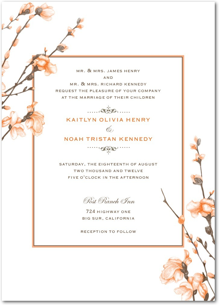 Signature white textured wedding invitations, Fine Forsythia