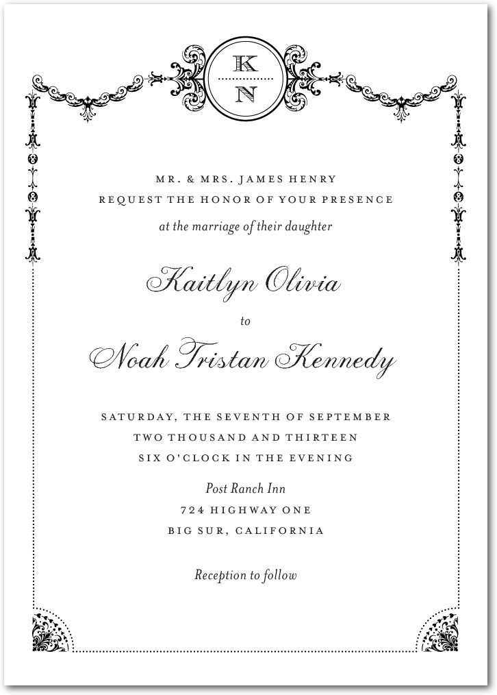 photo of Signature white textured wedding invitations, Framed Elegance