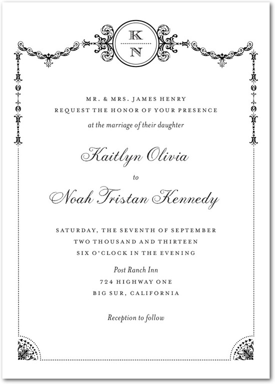 Signature white textured wedding invitations, Framed Elegance
