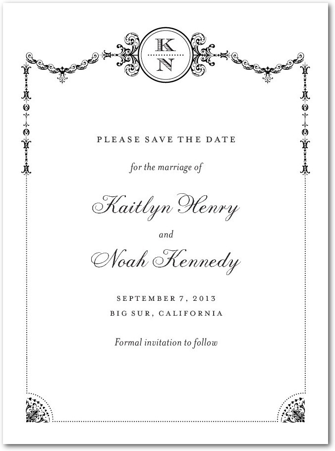 Signature white textured save the date cards, Framed Elegance