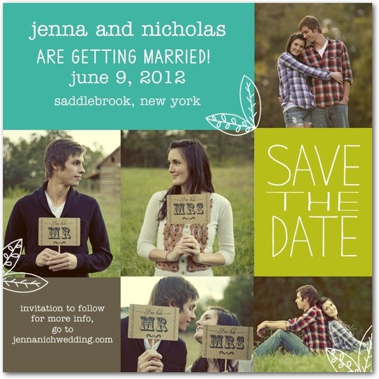 Signature white photo save the date cards, Homespun Leaves