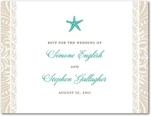 photo of Wedding response postcards, Stylish Starfish